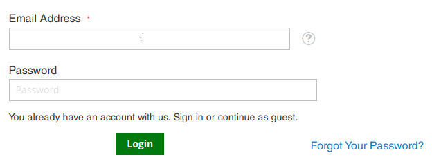 Screenshot of the login form on Magento